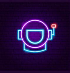 Spaceman neon label vector