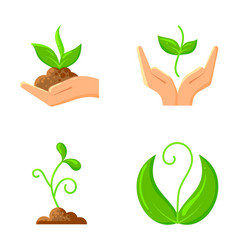 sprout flat organic nature seeds icons set vector image