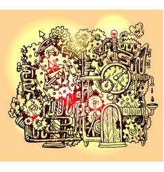 steampunk hand drawn vector image