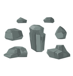 Stones and rocks cartoon boulders set vector