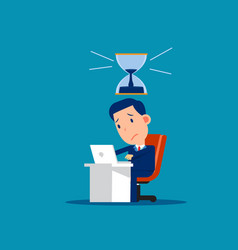 stressed worker with hourglass that almost run vector image
