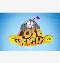 Text lose weight with weigh scale and measure tape vector