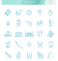 thin turkey symbol icon set vector image