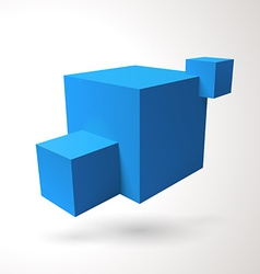 Three 3D cubes logo vector image