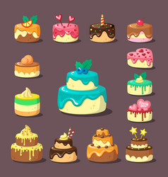 Tiered cakes with cream and fruit flat vector