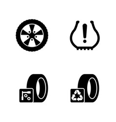 Tires wheels disks simple related icons vector