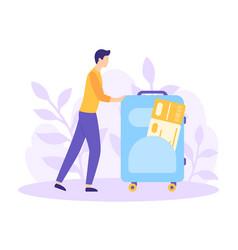 Tourism man suitcase ticket flat concept vector