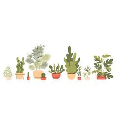 Trending home plants for scandinavian decor flat vector