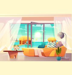 Tropical resort hotel room interior cartoon vector