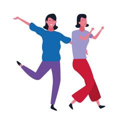 two women friends cartoon vector image