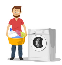 unhappy young man standing next to washing machine vector image