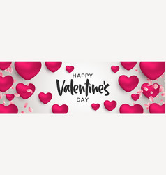 valentines day 3d pink heart shape web banner vector image