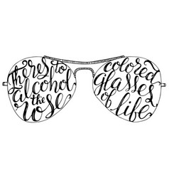 Vintage summer sunglasses with lettering quote on vector