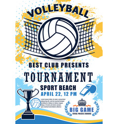 Volleyball sport league cup tournament vector