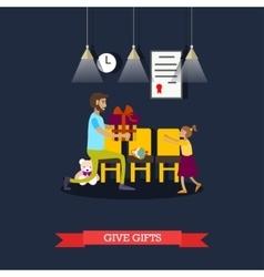 Volunteer giving gift to vector