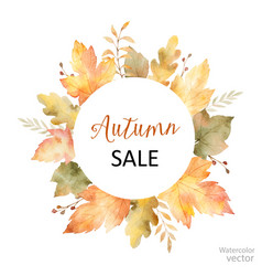 Watercolor sale frame of leaves vector