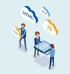 Web development people with coding languages vector