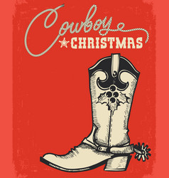 Western red christmas card with cowboy boot and vector