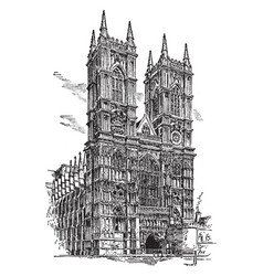 westminster abbey or collegiate church vintage vector image