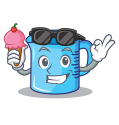 With ice cream measuring cup character cartoon vector