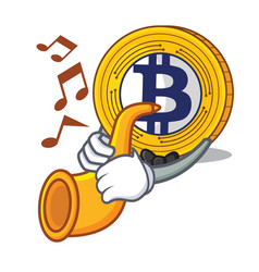 with trumpet bitcoin gold character cartoon vector image
