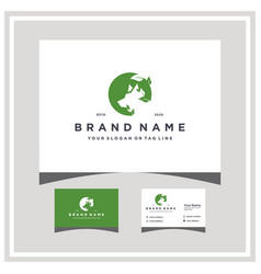 Wolf leaf logo design and business card vector