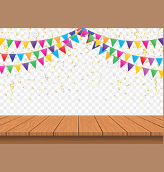 Wooden presentation board top with colorful flags vector
