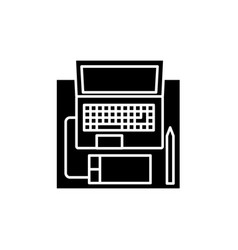 workplace with a laptop black icon sign on vector image