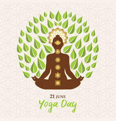 Yoga day greeting card woman lotus pose tree vector