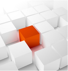 Abstract 3D cubic background with red cube vector image