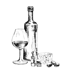 Bottle of wine and blue cheese vector image vector image