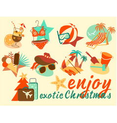 exotic christmas icon set vector image vector image