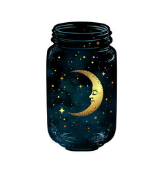 hand drawn wish jar with crescent moon and stars vector image vector image