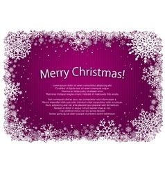 Pink Christmas background with frame of snowflakes vector image vector image