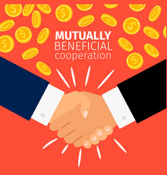 cooperation concept businessmen handshaking vector image