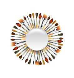 Different paint brushes in the circle isolated on vector image vector image