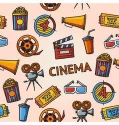 Seamless cinema handdrawn pattern vector image vector image