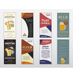 Set of flyer layout templates Cocktail lounge vector image vector image