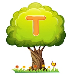 A tree with a letter T vector image vector image
