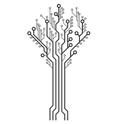 Circuit board in the shape of the tree vector image vector image