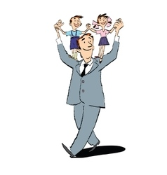 Happy father with children on their shoulders vector image
