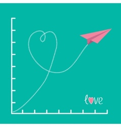 Origami pink paper plane and scale Love card Flat vector image