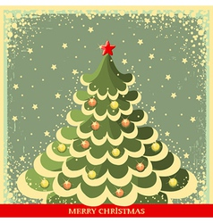Vintage Christmas background with tree vector image