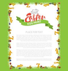 easter egg hunt invitation flyer design with bunny vector image