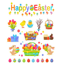 happy easter traditional elements concept poster vector image vector image