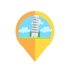 On-line map marker with pisa tower vector