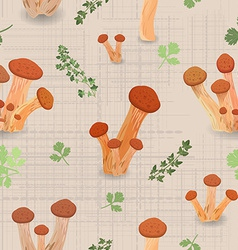 Seamless texture with Edible mushroom armillaria vector image vector image