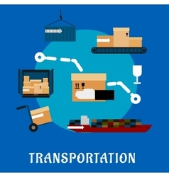 Shipping and logistics flat icons vector image