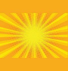 yellow orange sun pop art retro rays background vector image