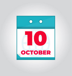 10 october flat daily calendar icon vector image